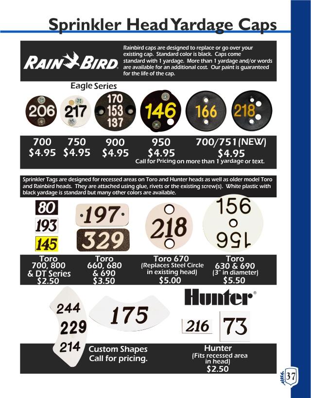 Golf Yardage Markers WI, Toro Sprinkler Head, Madison Yardage Caps